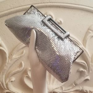 Kate Landry Silver Mesh Cocktail Evening Clutch